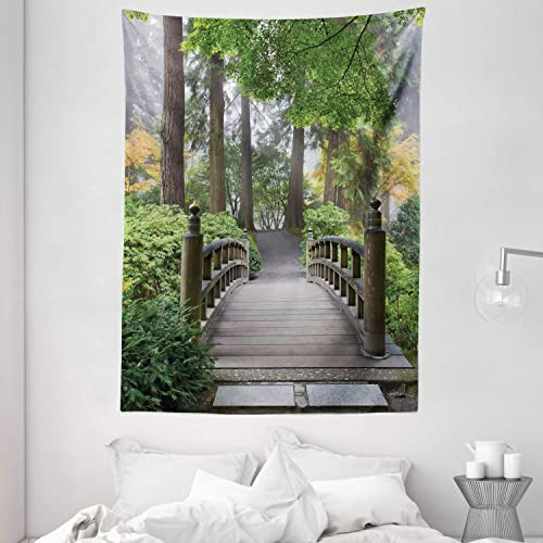 Ambesonne Japanese Tapestry, Foggy Morning Wooden Bridge at Japanese Garden with Trees in Autumn Image, Wall Hanging for Bedroom Living Room Dorm, 60 X 80 , Taupe Green