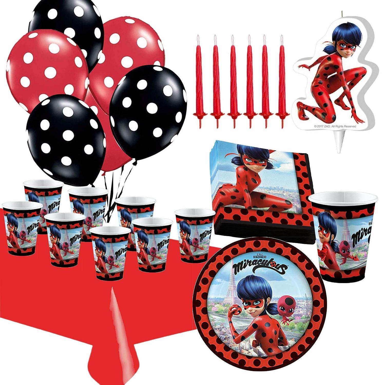Kit de Cumpleaños Ladybug con Vela y Globos: Amazon.es: Hogar
