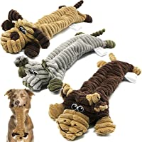 Squeaky Dog Toys Indestructible, No Stuffing Plush Dog Toys for Large Dogs, Interactive Dog Chew Toys with 2 Squeakers…