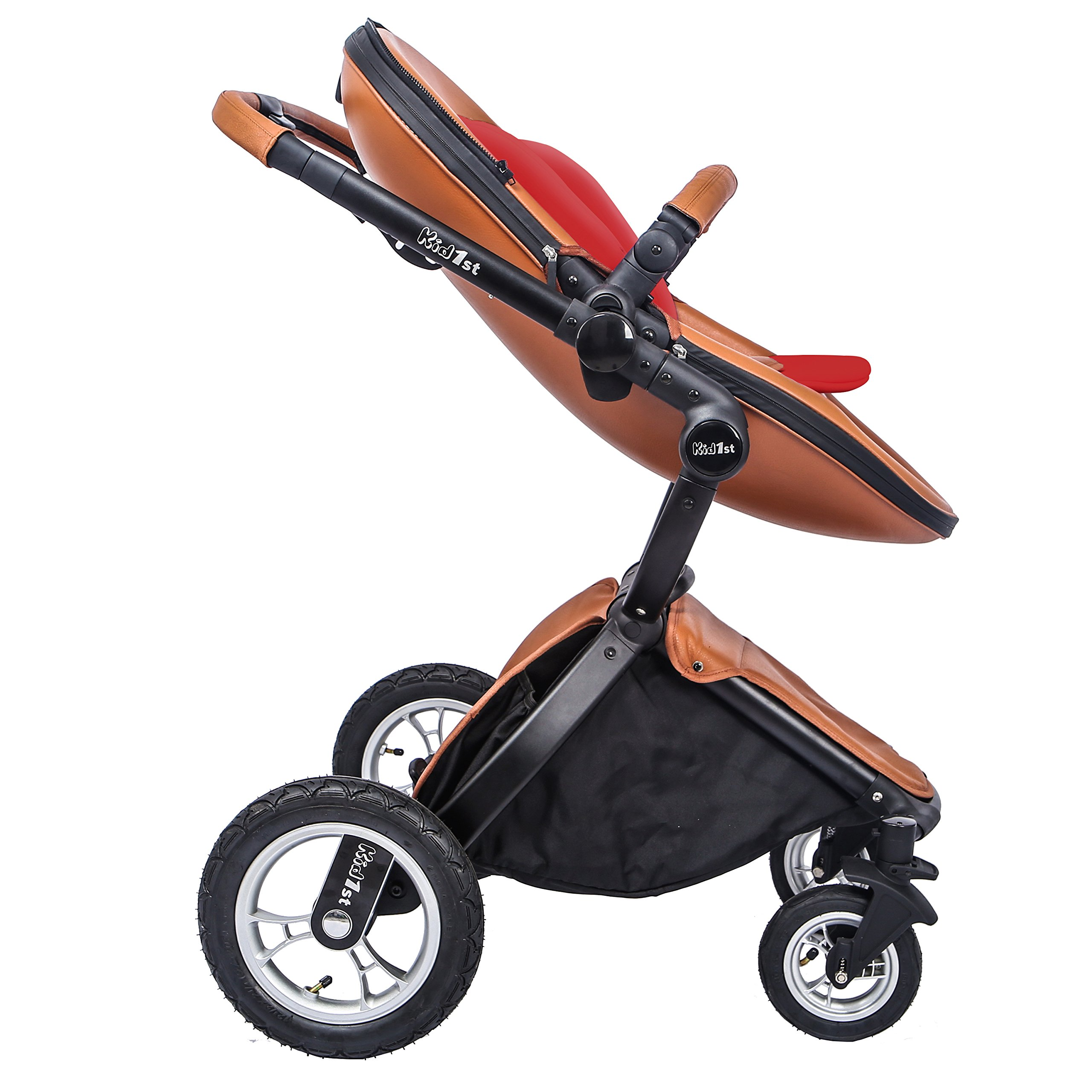 KID1st elegant all-in-1 high landscape All-Terrain Egg Shell infant Baby Stroller Travel System toddler pushchair  baby pram with Carriage Bassinet Combo for HOT MOM (Brown)  by Kid1st (Image #3)