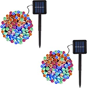2-Pack Solar String Lights Outdoor, 40ft 100-LED 8-Modes Solar Powered String Lights, Fairy Lights for Garden Patio Yard Wedding Party Christmas Decorations (Multicolor)