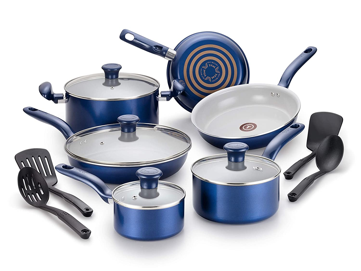 T-fal G918SE Initiatives Ceramic Thermo-Spot Heat Indicator Dishwasher Safe Oven Safe Cookware Set, 14-Piece, Blue