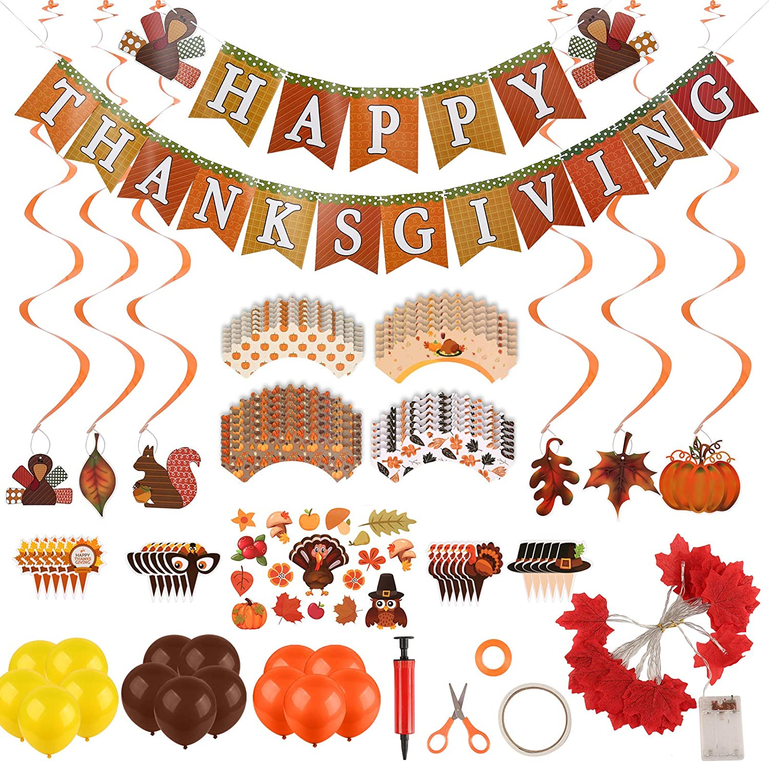 Fukep 2020 Thanksgiving Decorations Set for Home 76 Pieces Fall Festival Party Supplies Fall Decorations Thanksgiving Balloons 20 LED Maple Leaf Lights Banner Hanging Swirls Stickers Cupcake Wrappers