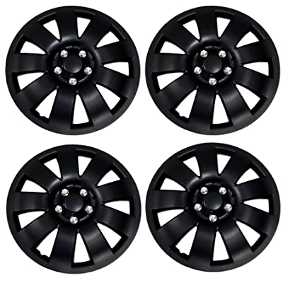 Tuningpros WC3-14-721-B - Pack of 4 Hubcaps - 14-Inches Style Snap-On (Pop-On) Type Matte Black Wheel Covers Hub-caps: Automotive