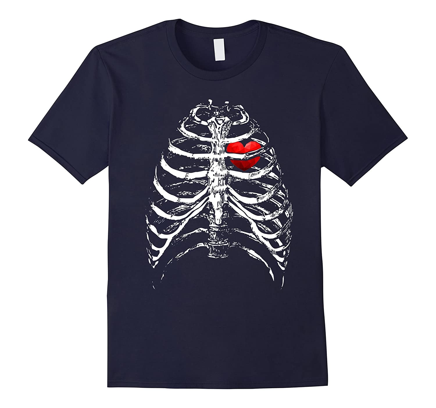 Skeleton Xray Rib Cage Bones Heart - Black Halloween T-Shirt