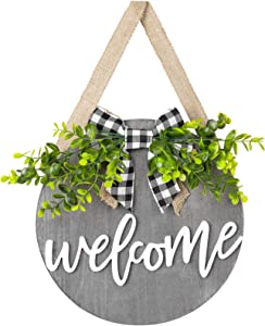 Dahey Rustic Welcome Sign with Artificial Eucalyptus Front Door Decor Round Wood Hanging Sign Farmhouse Porch Decorations for Home Outdoor Indoor, Grey