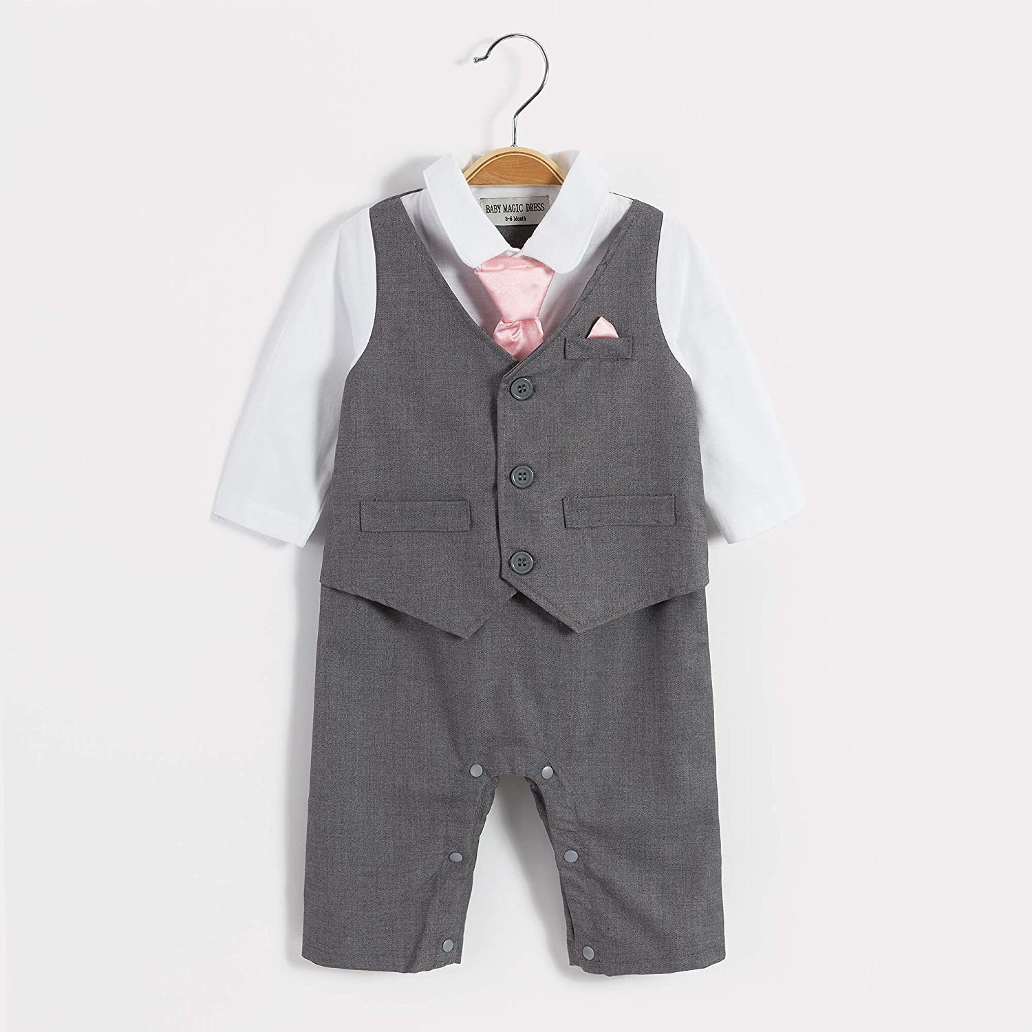 Baby Boy Wedding Tuxedo Waistcoat All in 1pc Design Outfit Suit
