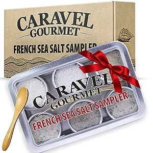 The French Sea Salt Sampler - Perfect as a Kitchen Set - Reusable Tins & Bamboo Spoon - Fleur de Sel, French Grey, Citrus Fennel, Garden Blend, Grey Provencal, Grey Harvest - 1/2 oz each