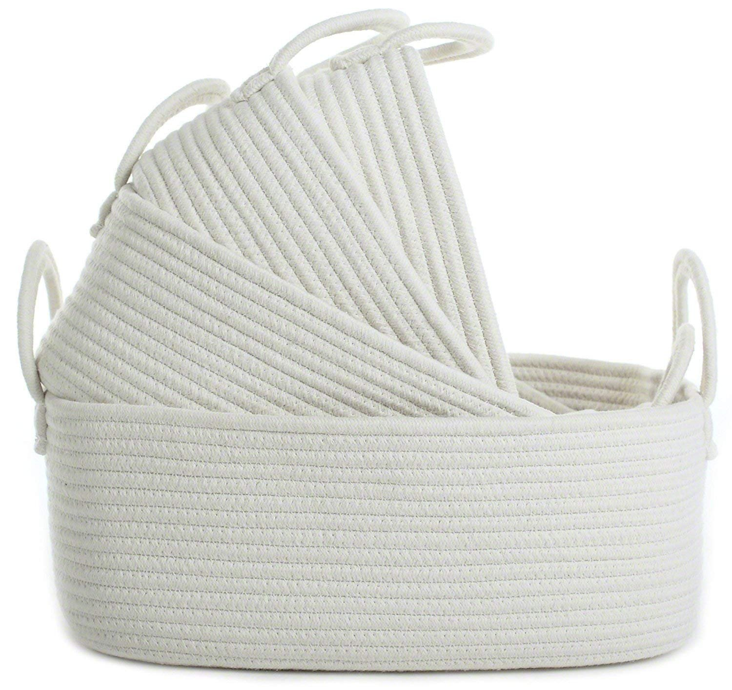 Storage Baskets Set of 4 - Woven Basket Cotton Rope Bin, Small White Basket Organizer for Baby Nursery Laundry Kid's Toy by LA JOLIE MUSE