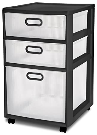 Lovely Amazon.com: Sterilite 36129002 Ultra 3 Drawer Cart, Black Frame With Clear  Textured Drawers And Black Handles, 2 Pack: Home U0026 Kitchen