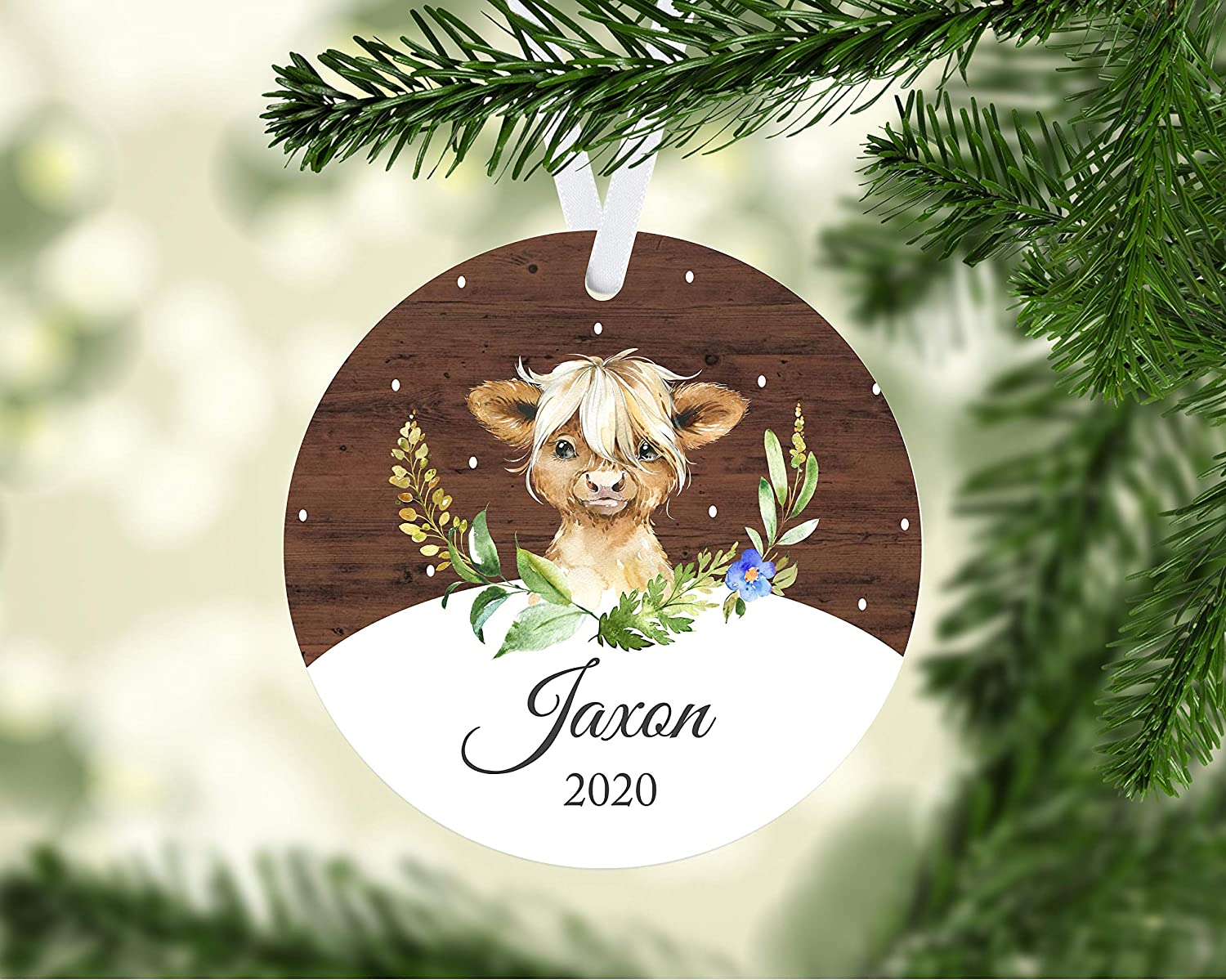 EricauBird Christmas Decoration-Baby Cow Ornament, 2020 Baby Ornament, Highland Cow Ornament, Baby Gift, Gift for Baby boy Annual Ornament, Keepsake Ornament, Christmas Ornament
