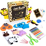 Kids Sewing Kit for Beginners - Animal Safari Sewing Kit for Kids Ages 8-12 Includes 7 Pre-Cut Mini Animals, Safety…