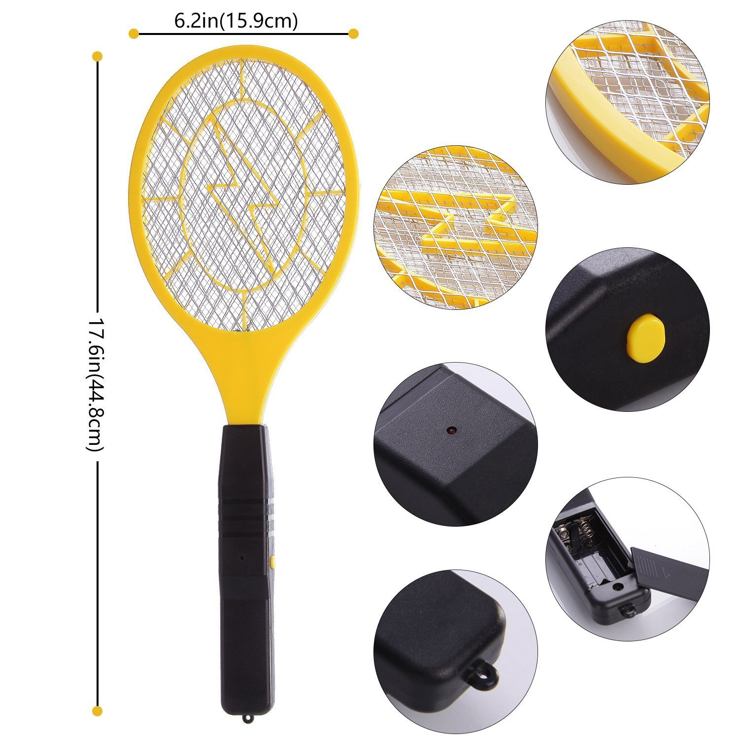 Bug zapper- Electric Fly Swatter ,handheld Insect Fly Killer, Mosquito Zapper against Flies,Bugs,Bees and Other Pest,Unique 3-Layer Safety Mesh Safe to Touch for Indoor and Outdoor Pest Control by Henscoqi (Image #3)