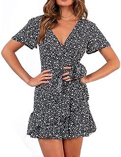 a372bb9a85 Relipop Summer Women Short Sleeve Print Dress V Neck Casual Short Dresses