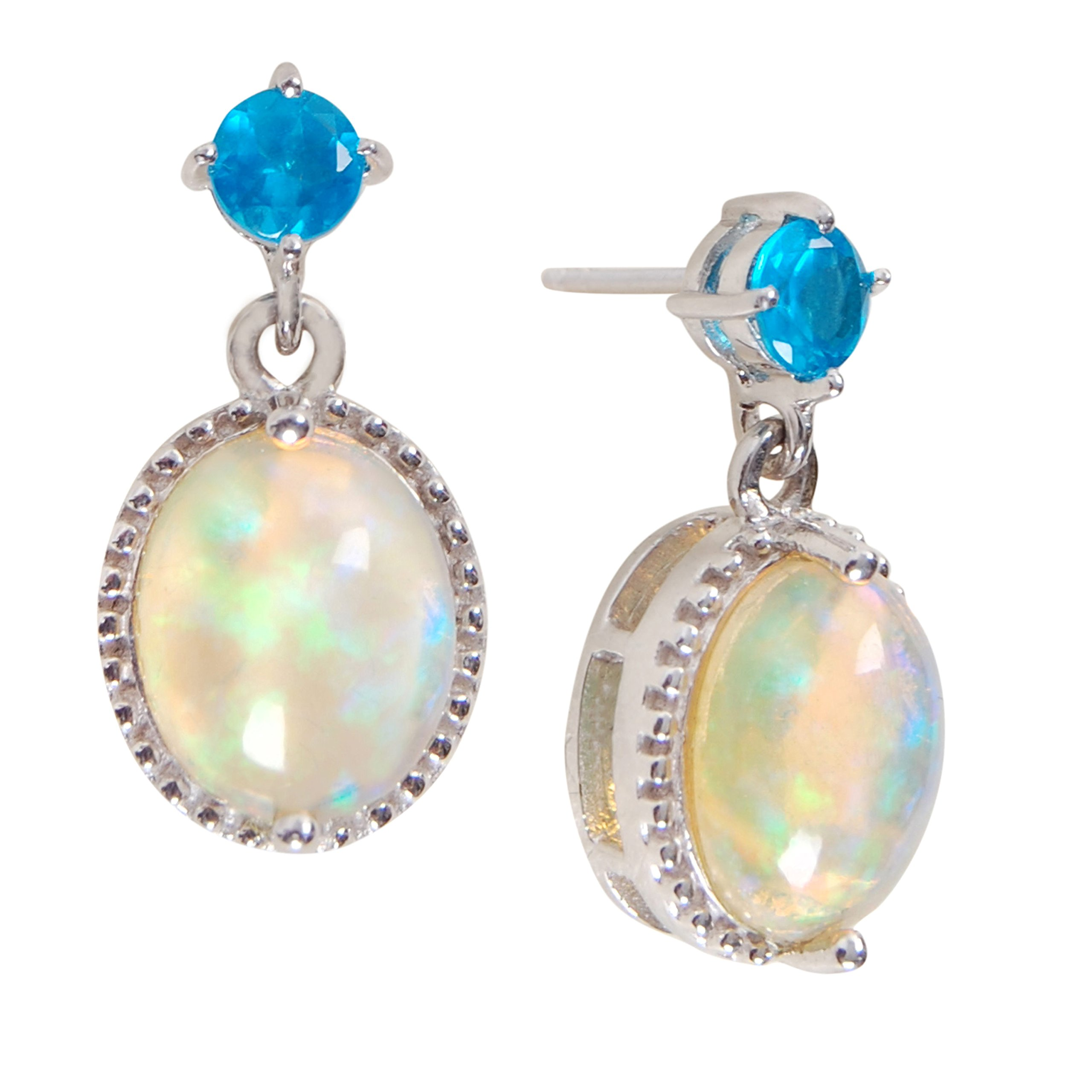 Humble Chic Natural Opal Drop Stud Earrings - Genuine Birthstone Gemstones in 925 Sterling Silver, Opal, Rainbow White, Neon Blue, Hypoallergenic