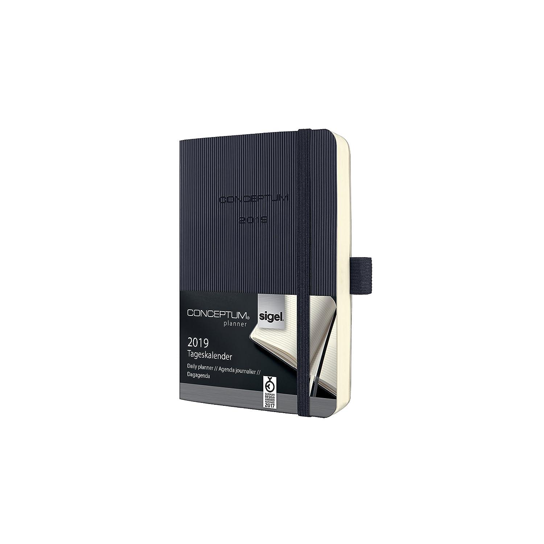 Sigel C1921 Agenda diaria 2019 CONCEPTUM, tapa blanda 9,3 x 14 cm, color negro