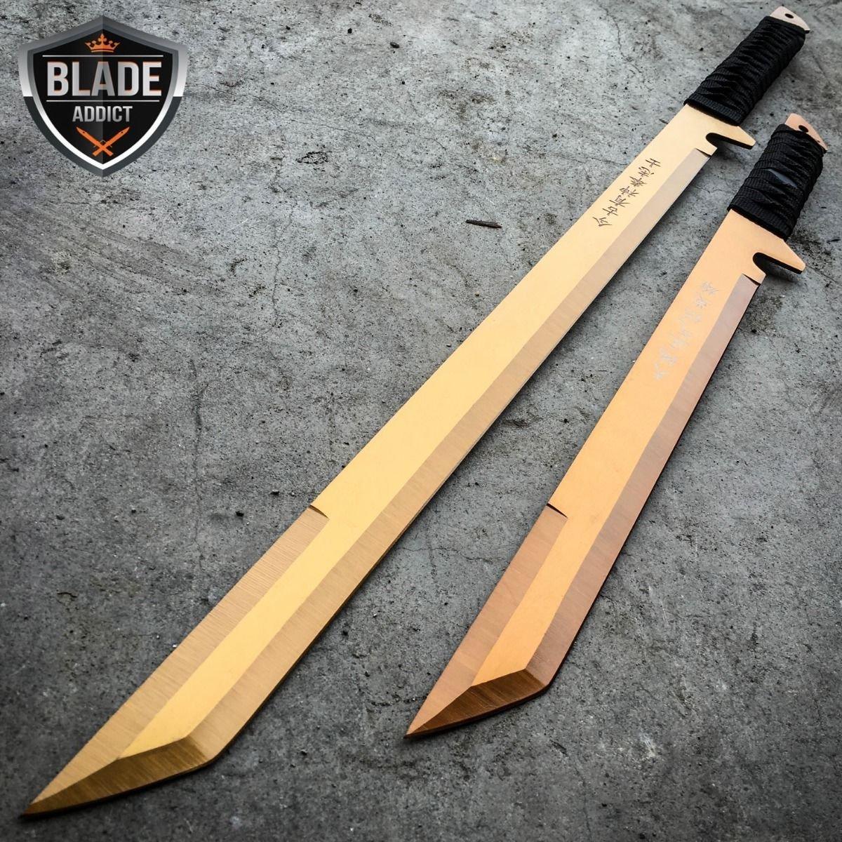 New 27'' & 18'' NINJA SWORD SET Samurai Machete COMBAT FANTASY EcoGift Nice Knife with Sharp Blade + Sheath GOLD SET- Great For Fun And Practical Use