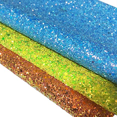 Chunky Mixed Glitter Fabrics Premium Quality A4 Sheets for Crafts /& Bows