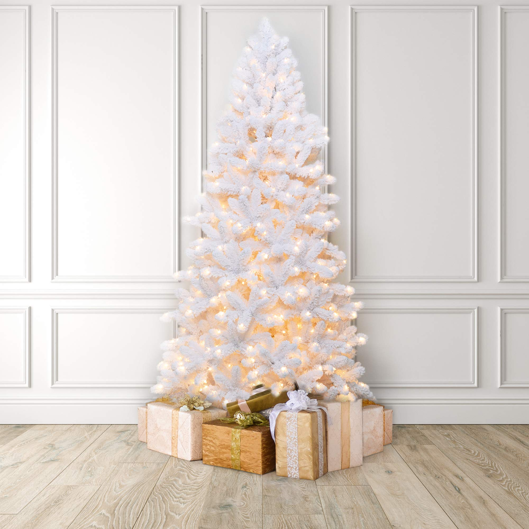 Boston Warehouse Martha Stewart Flocked White Pine Artificial Pre Lit Christmas Tree 7 5 Feet Clear Lights