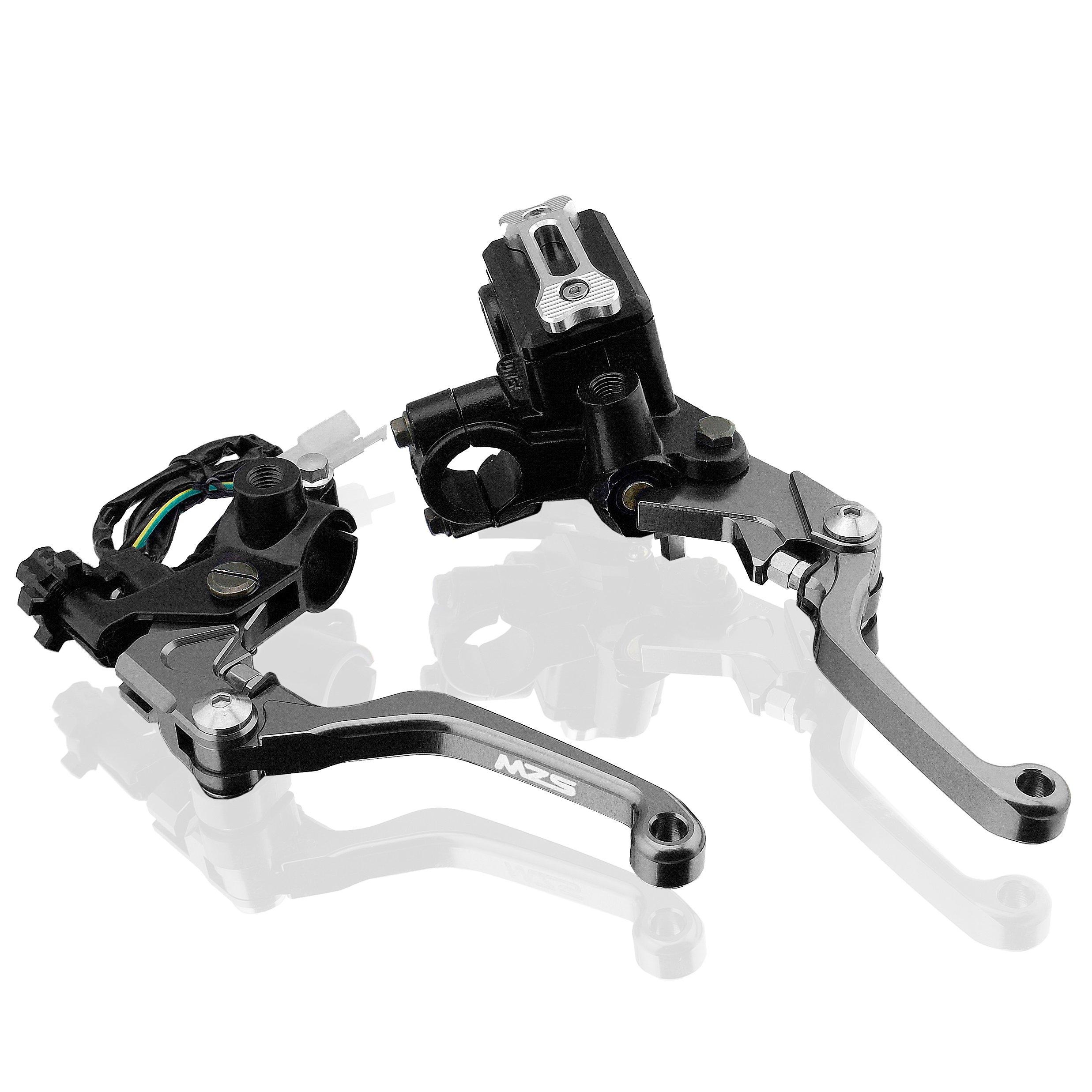 MZS 7/8 Brake Master Cylinder Reservoir Pivot Levers Set for Honda Yamaha Suzuki Kawasaki KTM (Gray) by MZS (Image #1)