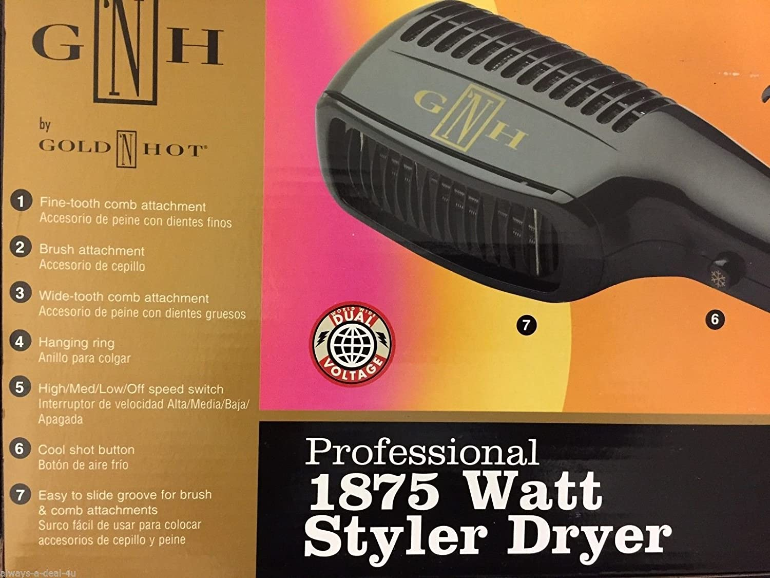 Amazon.com: Gold N Hot Gh2275 Professional 1875 Watt Styler Dryer with Comb Attachments by Gold N Hot: Beauty