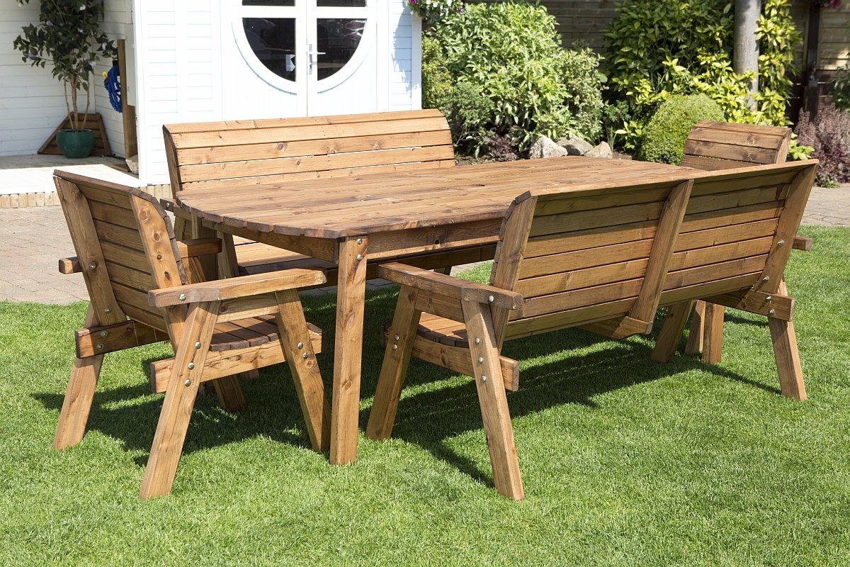 8 Seater Wooden Garden Table, Bench and Chair Dining Set - Outdoor ...