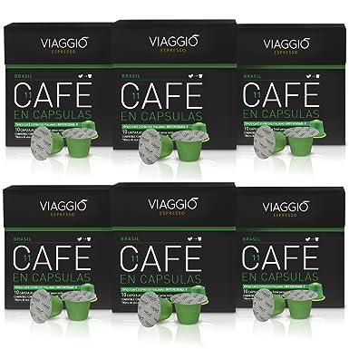 VIAGGIO ESPRESSO - 60 Cápsulas de Café Compatibles con Máquinas Nespresso - BRASIL