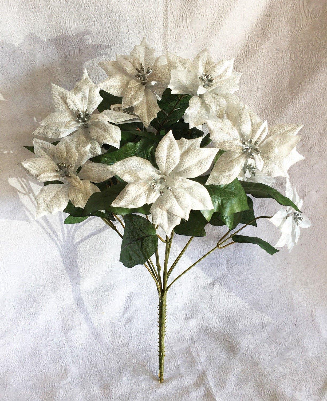 17-Silver-Lame-12-Poinsettias-Bush-Silk-Wedding-Decoration-Flowers-Artificial-Arrangement-Centerpiece-Christmas