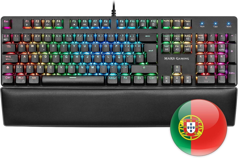 Mars Gaming MK5, teclado mecánico switch rojo, RGB, software, reposamuñecas, PT