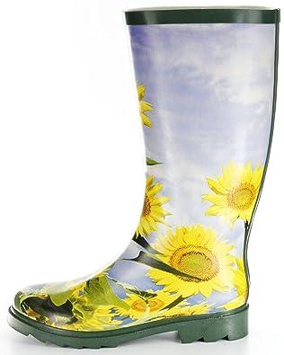 Conway Gummistiefel grün Regenstiefel Damen Stiefel Schuhe Sonnenblume, Größe:37, Farbe:grün