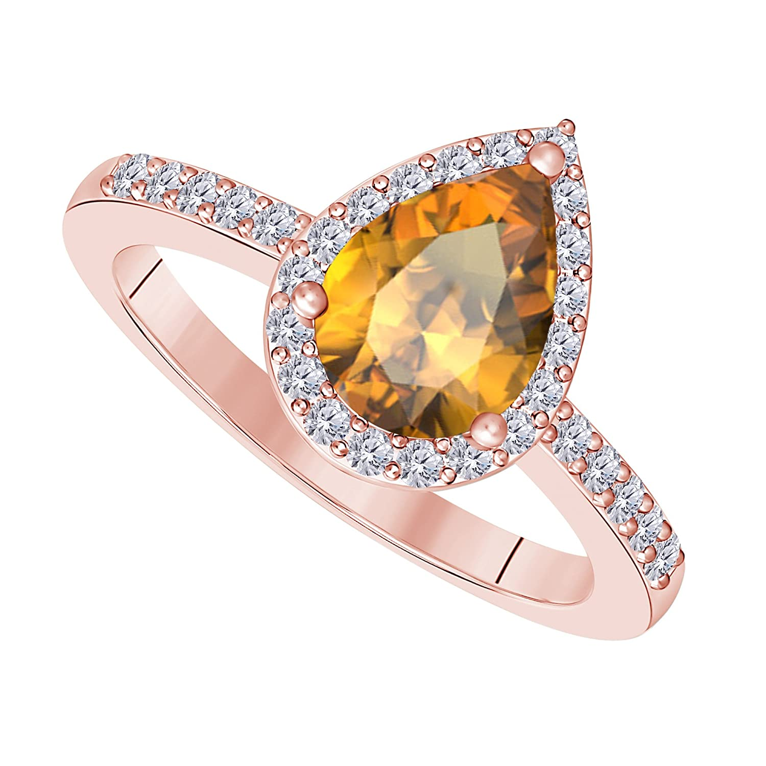 3 Carat Pear Shape Lab Created Black Sapphire /& Cubic Zirconia Halo Style 14K Rose Gold Over Alloy Wedding Engagement Ring Womens Jewelry