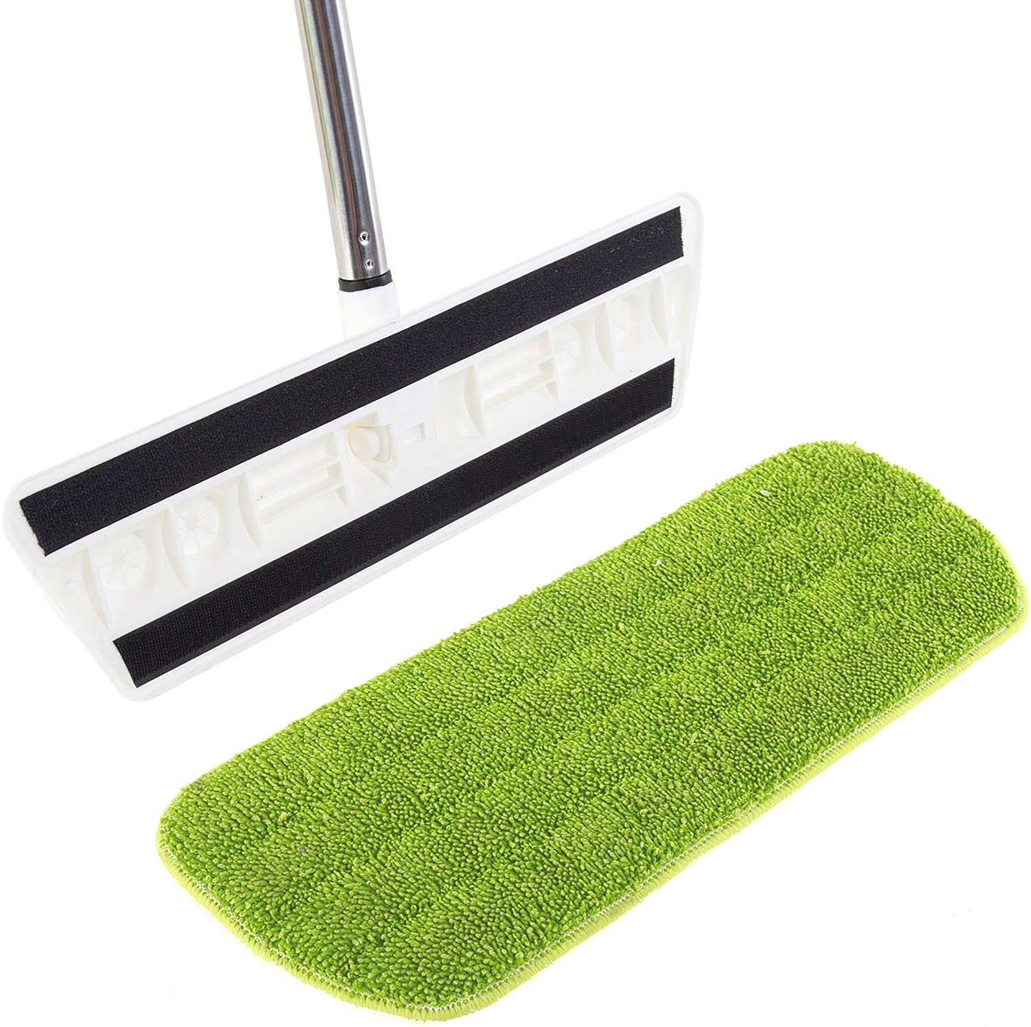 """Kitchen + Home Hardwood Floor Flat Mop with 17"""" Washable Reusable Microfiber Pads for Wet or Dry Floor Cleaning – Safe for All Surfaces"""