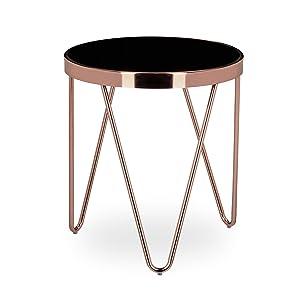 Relaxdays Table d'appoint ronde en cuivre HxlxP: 46 x 42 x 42 cm table console tendance table basse pieds géométrique en métal avec plateau en verre noir design moderne rétro vintage, couleur cuivrée