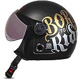 ACTIVE JET BORN TO RIDE Open Face Helmet (BLACK,MATT)