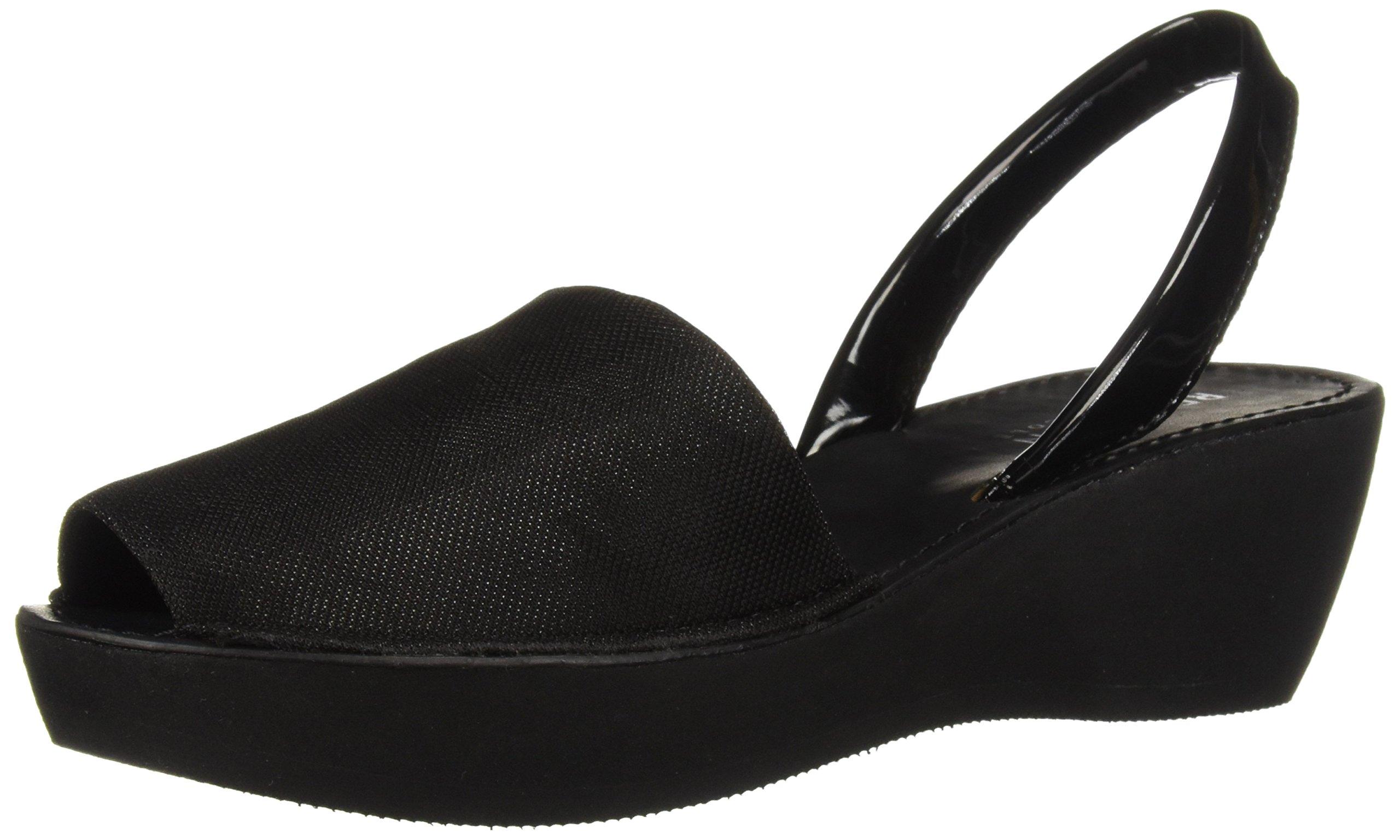 Kenneth Cole REACTION Women's Fine Glass Backstrap Wedge Sandal, Black Stretch Metallic, 9.5 M US