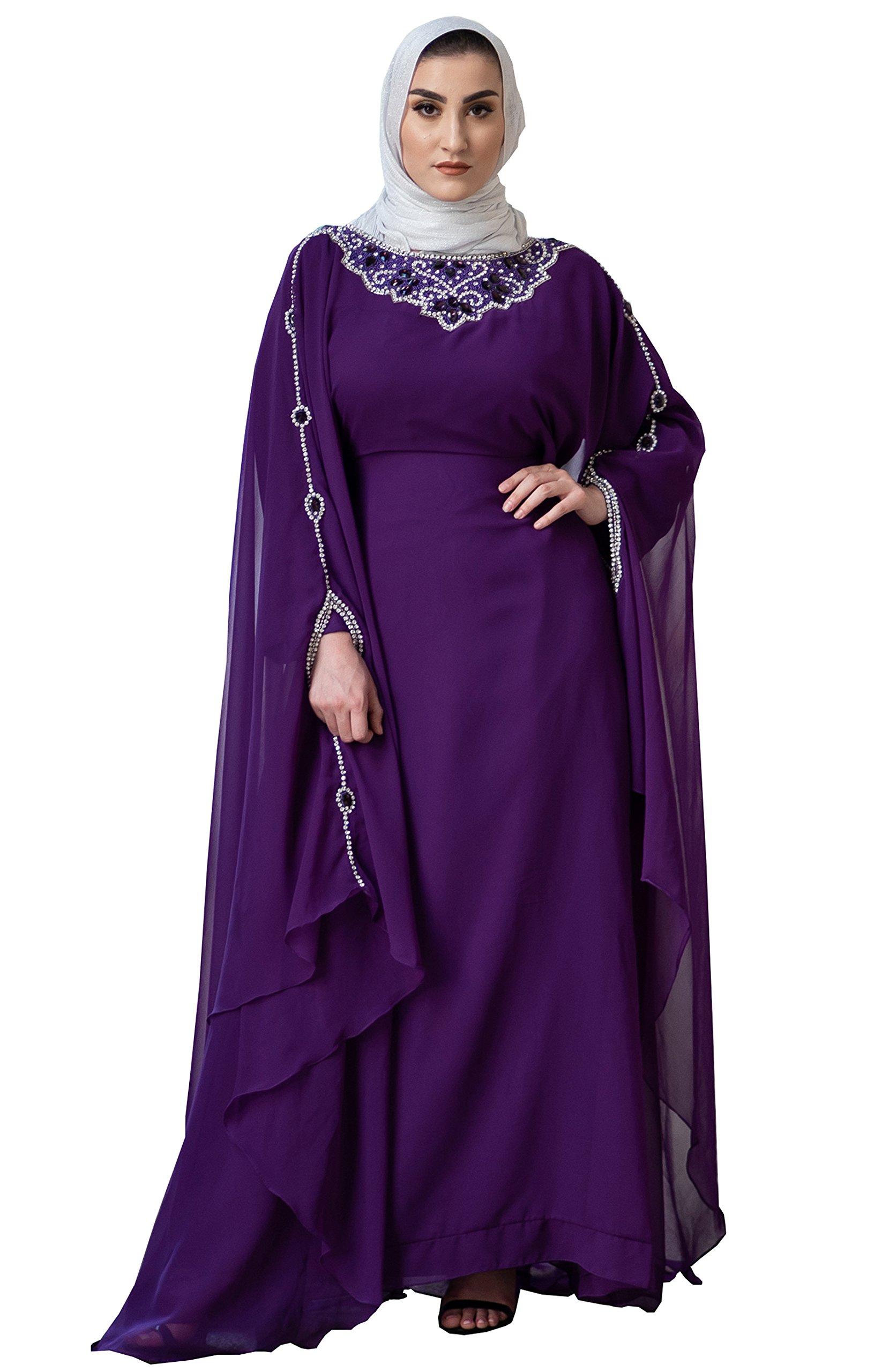 Alexis Kaftan Long Sleeves (Purple) - Beautiful Party Wear Kaftan Ladies 100% Chiffon Maxi Dress