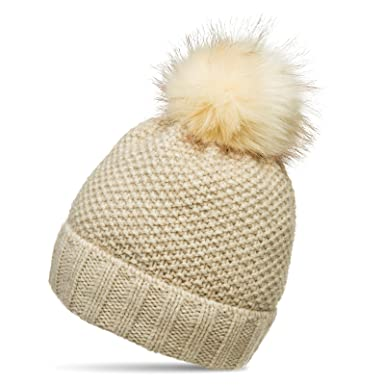 a4bea07e85d CASPAR MU173 Women Winter Knitted Bobble Hat with Large Faux Fur Pom Pom and  Cuffed Design