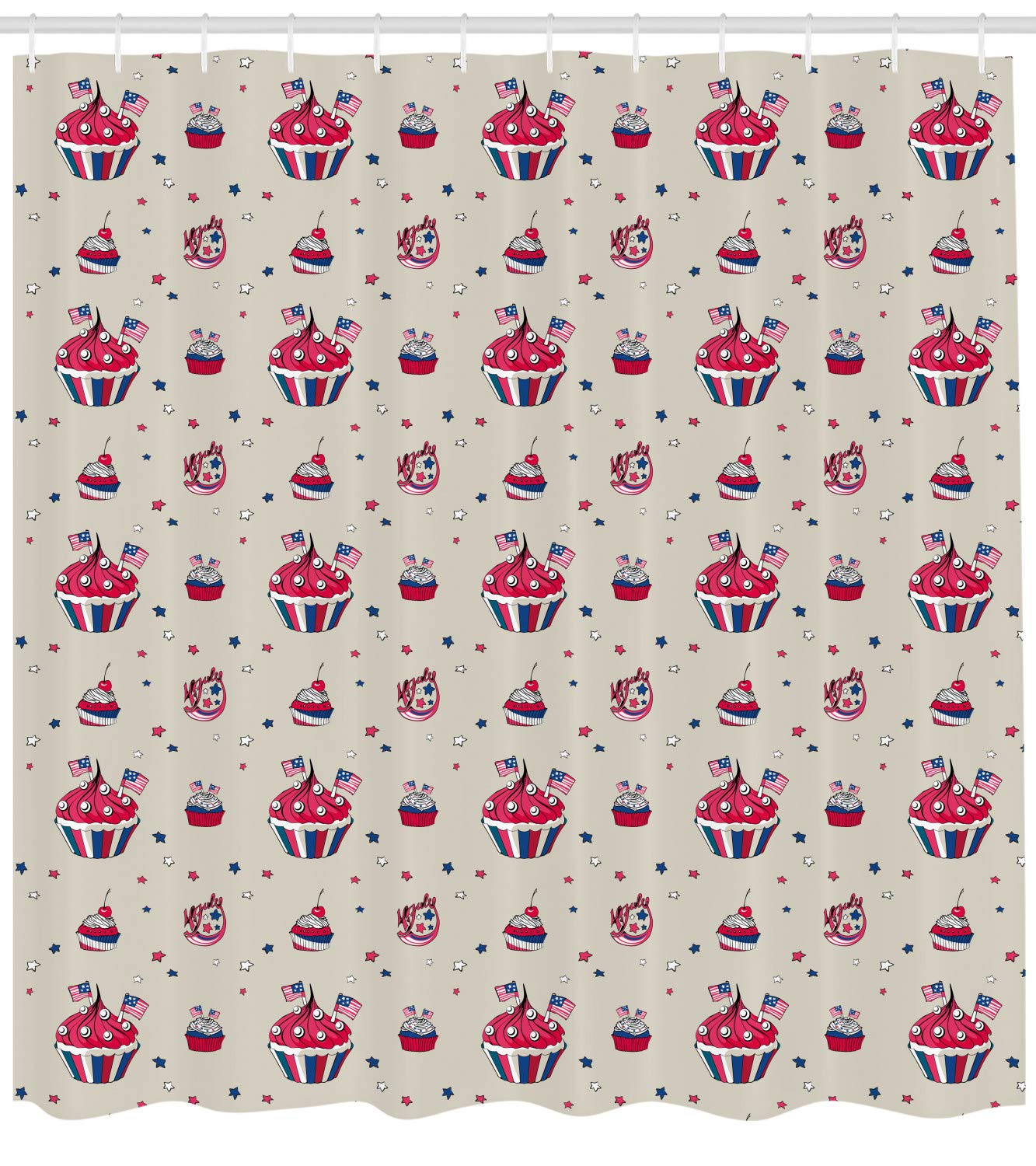 Ambesonne USA Shower Curtain, Cupcakes with National Flags Cute Cafe Yummy Homeland July Fourth Caricature, Fabric Bathroom Decor Set with Hooks, 105 inches Extra Wide, Beige Navy Blue Red by Ambesonne
