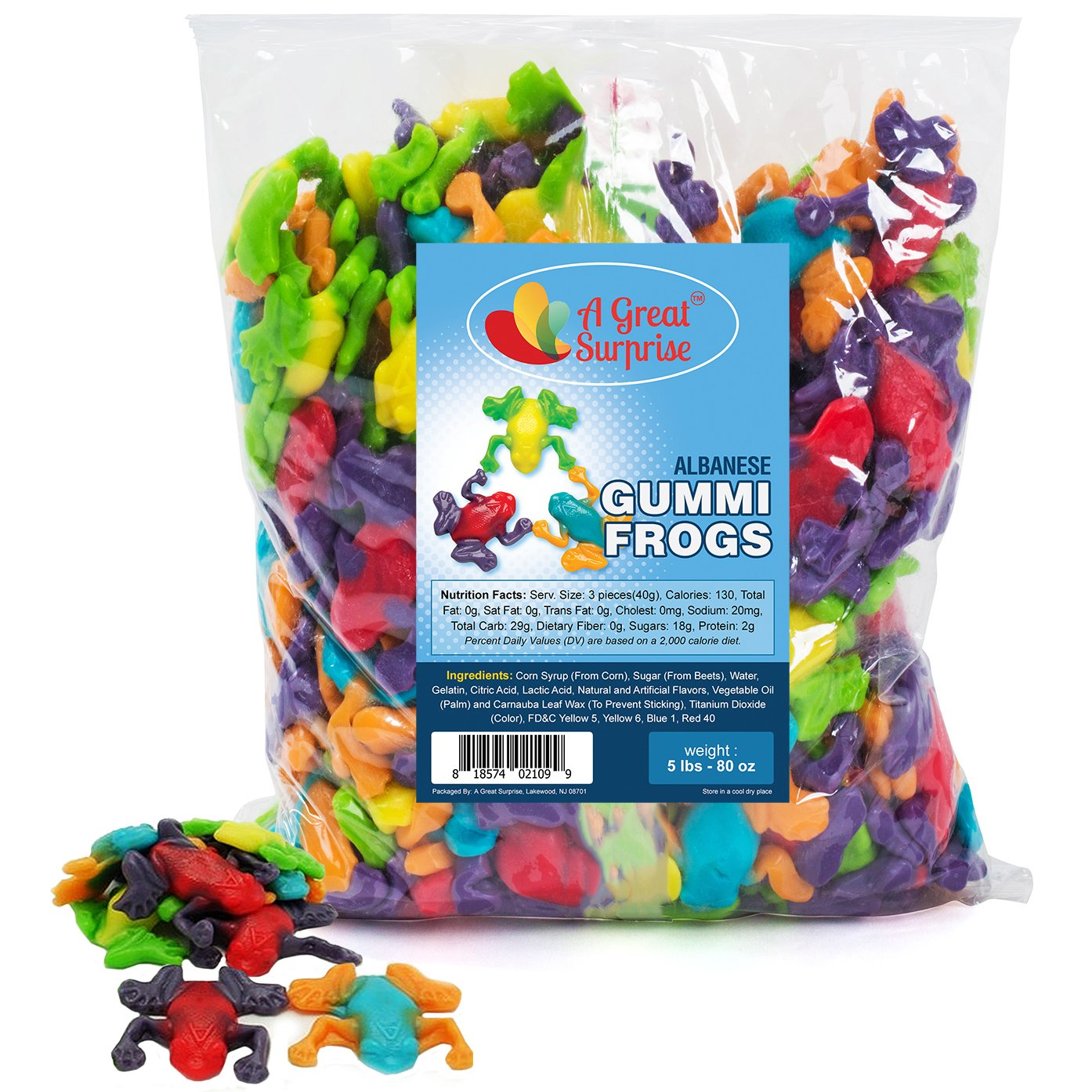 Gummy Frogs - Gummi Rainforest Frogs - Bulk Candy Gummies 5 LB by A Great Surprise