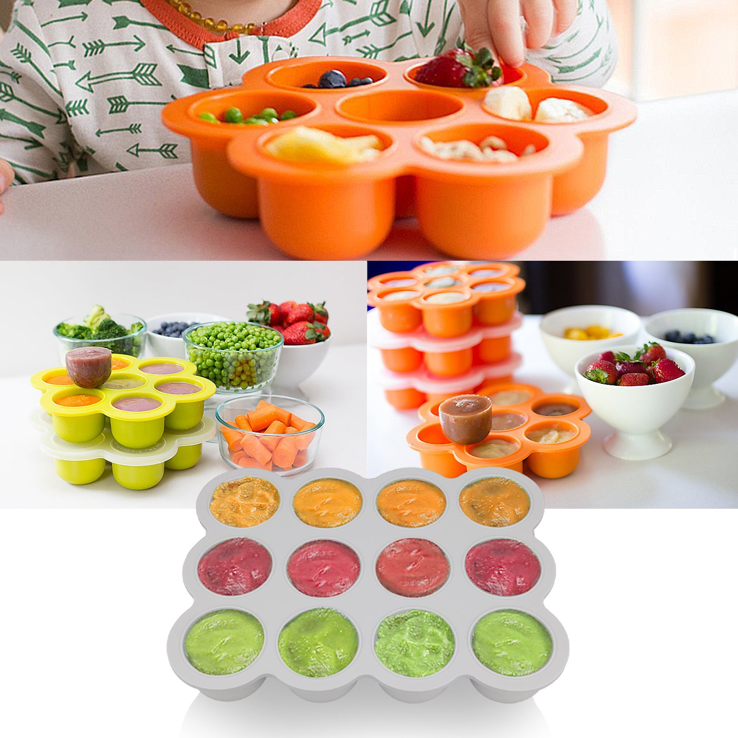 Amazon.com: Silicone Freezer Tray for Baby Food Storage - Reusable Baby Food Storage Containers - Vegetable & Fruit Purees and Breast Milk - BPA FREE & FDA ...