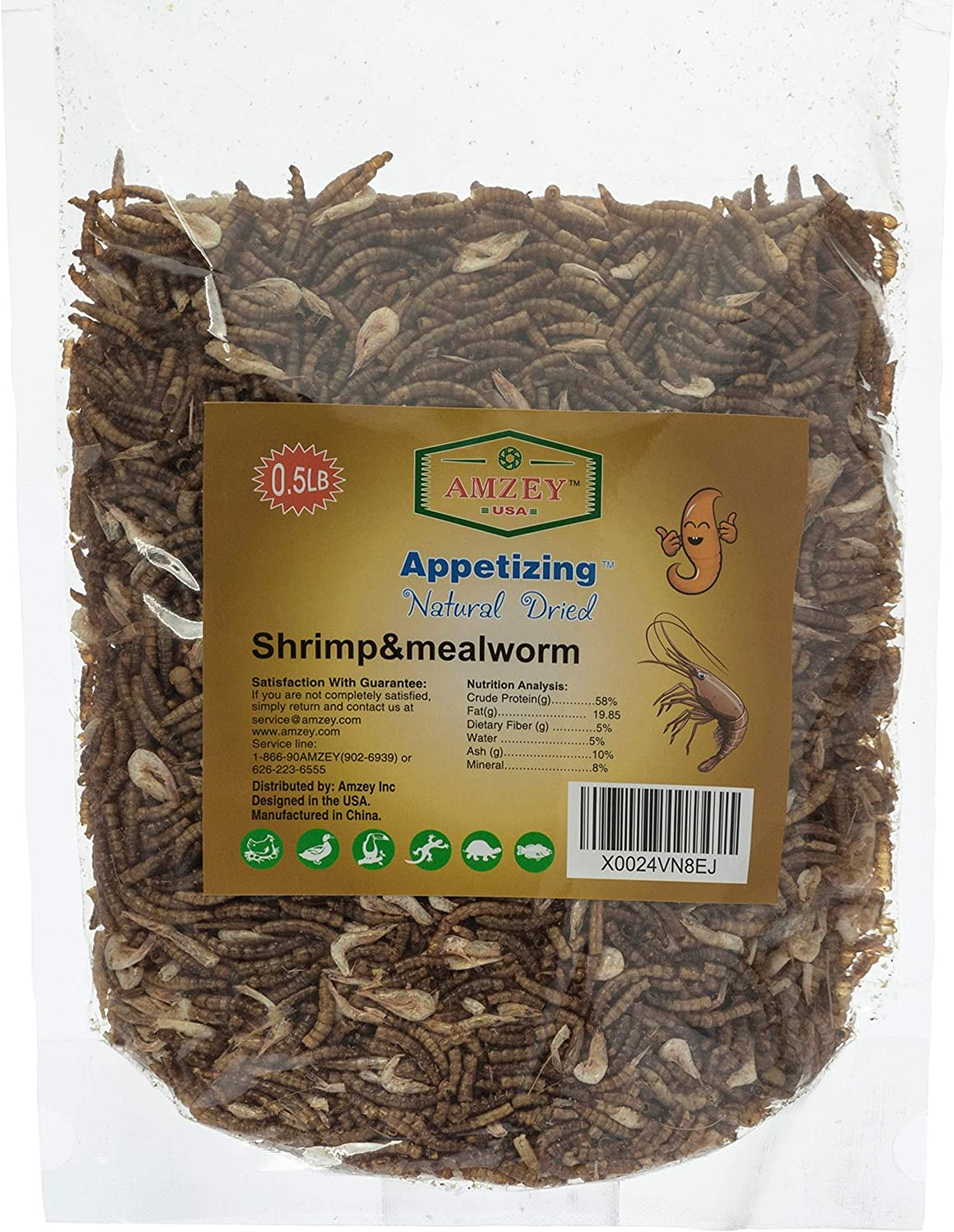 Appetizing Mealworms with Dried River Shrimp (8oz) All Natural 100% Non-GMO,Surf & Turf, Chicken, Fish, Ducks, Wild Birds, Turtles, Hamsters, Fish, and Hedgehogs