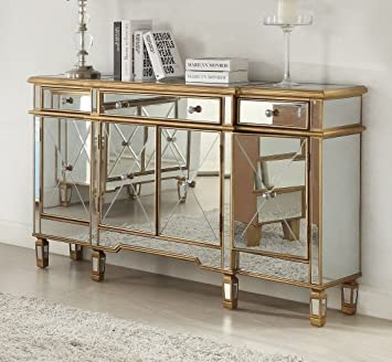 powell furniture 3drawers 4doors gold and mirror console red