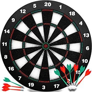 INNOCHEER Safety Darts and Kids Dart Board Set - 16 Inch Rubber Dart Board with 9 Soft Tip Darts for Children and Adults, Office and Family Time