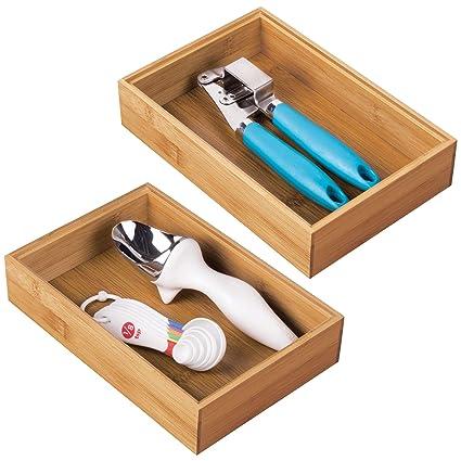mDesign Juego de 2 separadores de cajones para la cocina – Organizadores para cajones modulares para