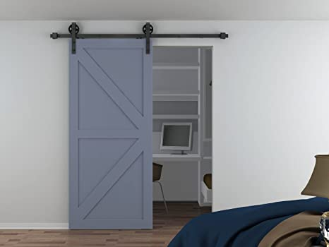 AiHom 2.44m llanta puertas acero puerta corrediza de granero Hardware: Amazon.es: Bricolaje y herramientas