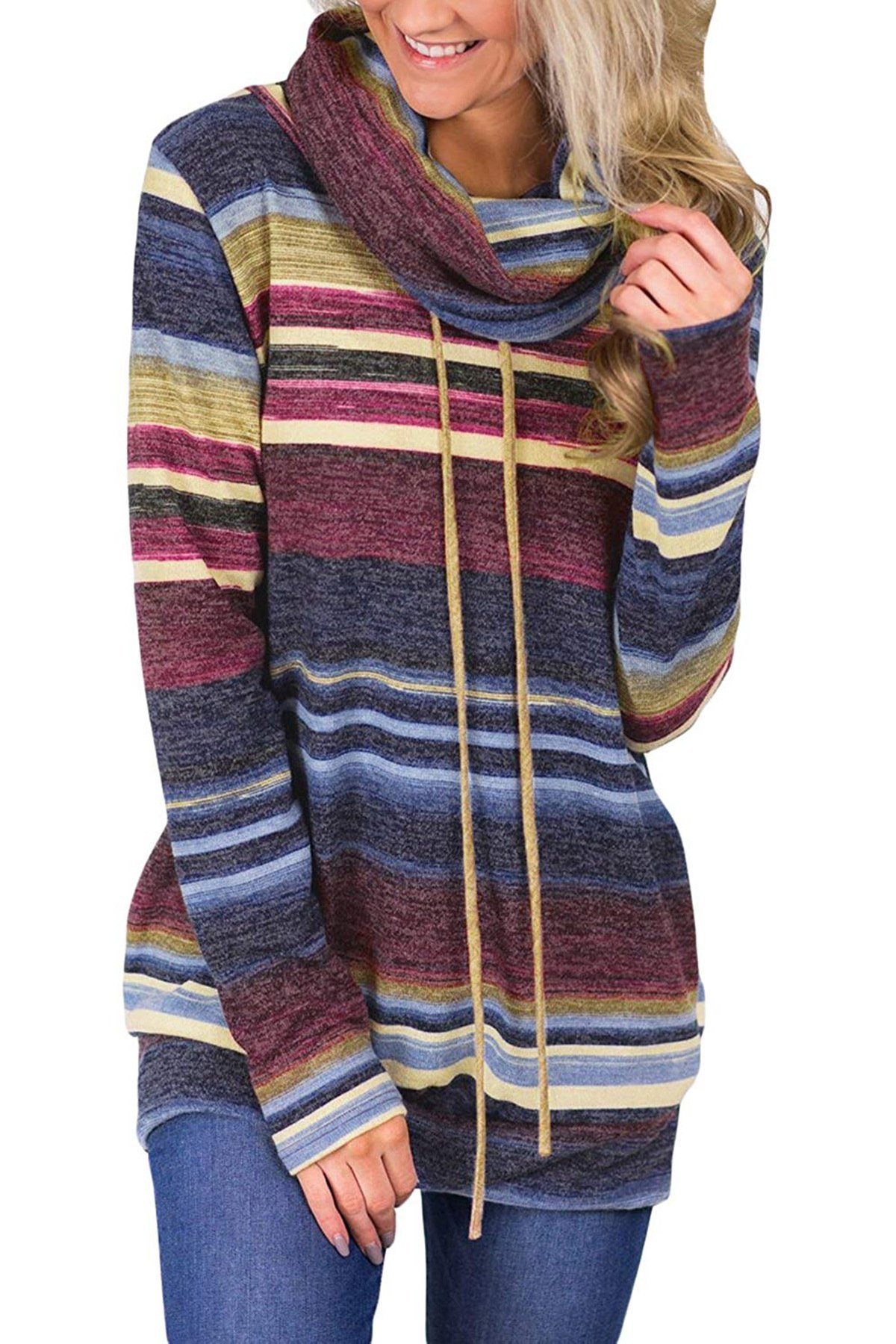 MBQMBSS Womens Sweatshirt Cowl Neck Long Sleeve Striped Pocket Drawstring Pullover Top Sweatshirt (L, Blue)