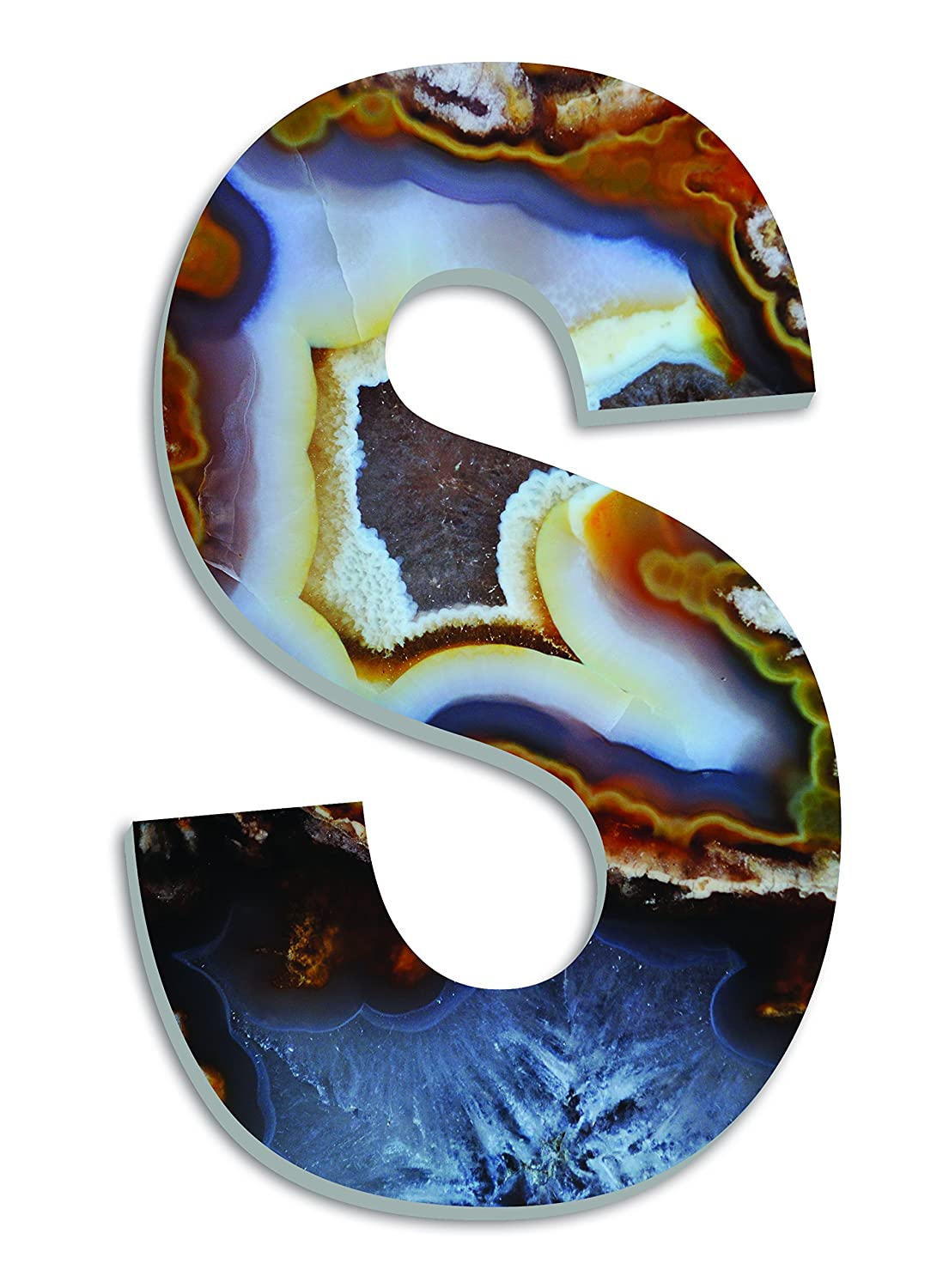 Stupell Home Décor Amber and Blue Geode Slice S 18 Inch Oversized Hanging Initial, 12 x 0.5 x 18, Proudly Made in USA