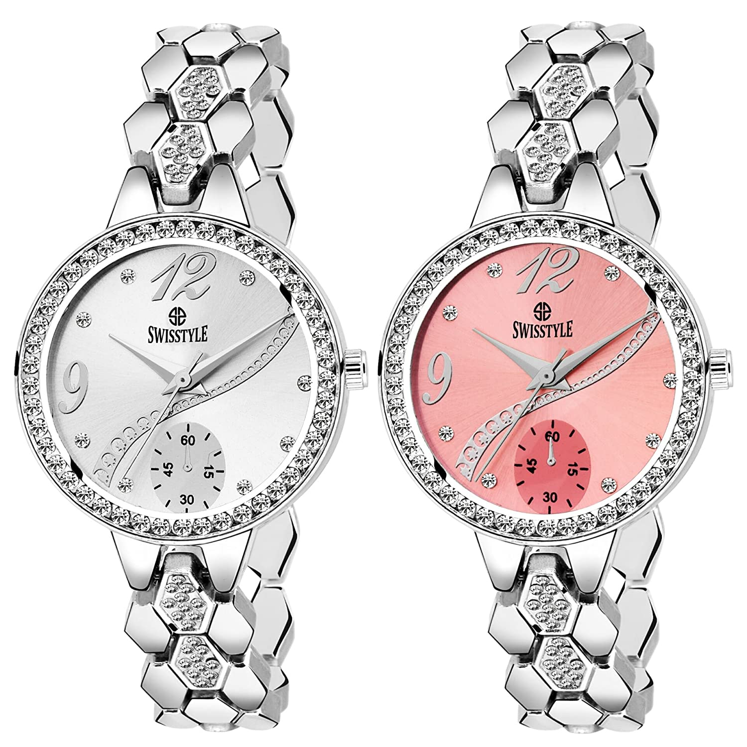 BRITTON Swisstyle Analogue Silver and Pink Dial Combo Watch for Women