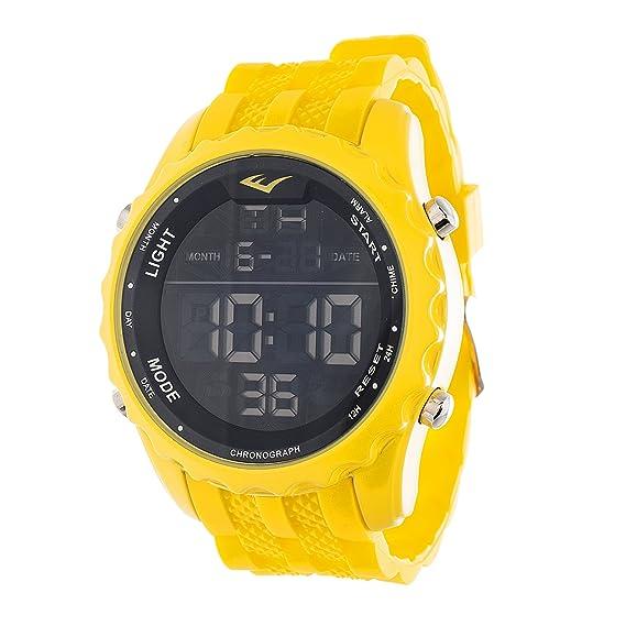 Everlast Jumbo Hombres redondo Digital del deporte LED amarillo Reloj con correa de silicona: Everlast: Amazon.es: Relojes