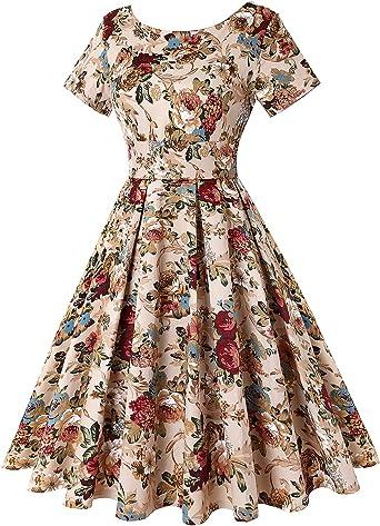 Unifizz damska sukienka w stylu lat 50., styl retro, rockabilly, krÓtkie rękawy, swobodne pikniki, kwiatowy khaki, rozmiar XL: Odzież